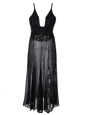 See-Through Lace Cami Dress - Black