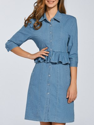 Denim Shirt Dress With Ruffles - Denim Blue