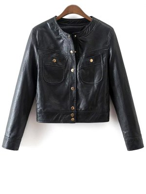 Buttons Faux Leather Jacket - Black
