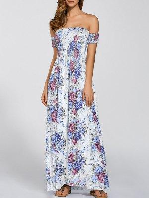 Vintage Floral Print Slit Off The Shoulder Dress - White