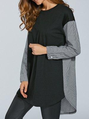 Stripe Spliced Oversize Longline T-Shirt - Black