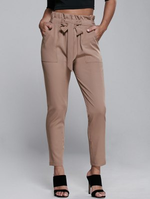 High Waisted Belted Narrow Feet Pants - Khaki