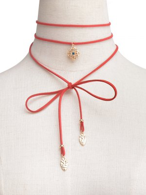 Rhinestone Flower Wrap Choker - Red