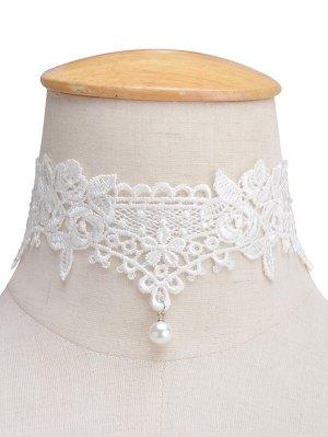 Faux Lace Pearl Floral Choker Necklace - White