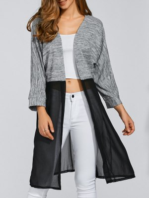 Chiffon Spliced Longline Cardigan - Black