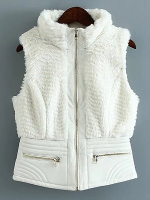 PU Leather Spliced Faux Fur Waistcoat - White