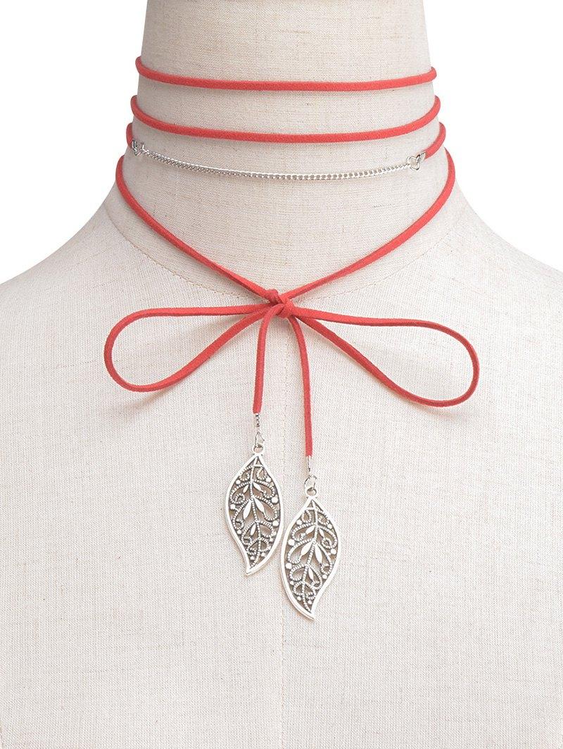 Hollowed Leaf Wrap Choker Necklace