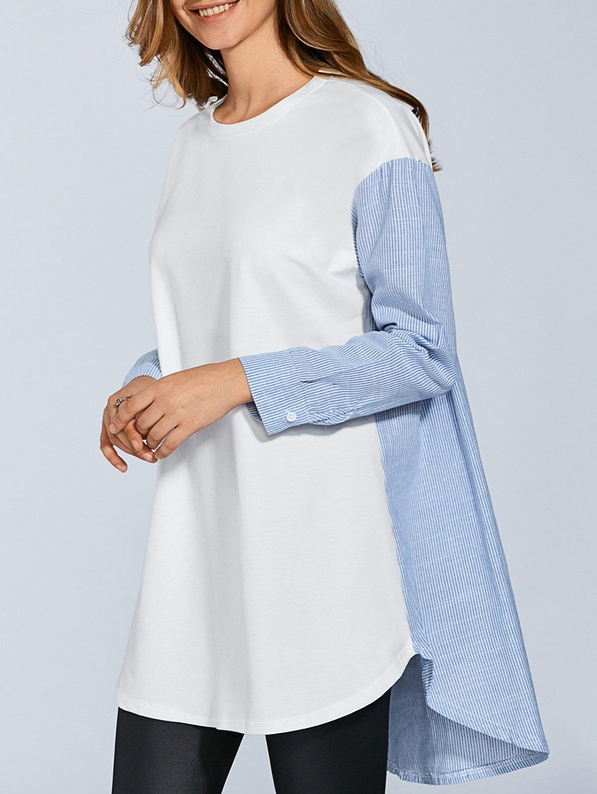 Long Sleeve Stripe Spliced T-Shirt
