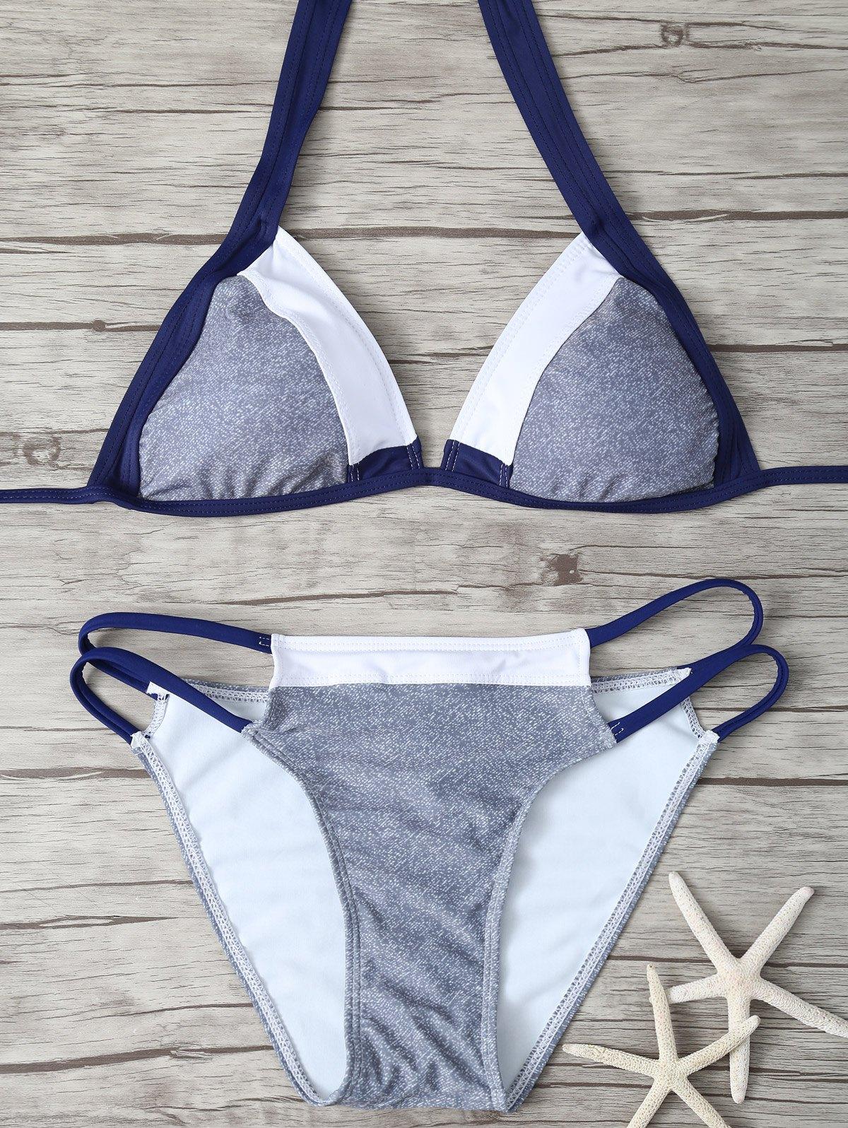 Color Block Stringy Bikini Set