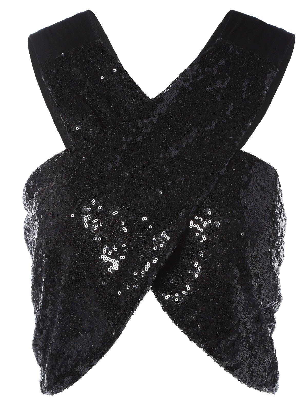 Sleeveless Sequins Cross Crop Top
