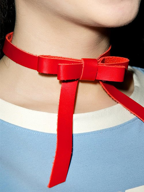 Vintage Faux Leather Bows Choker Necklace