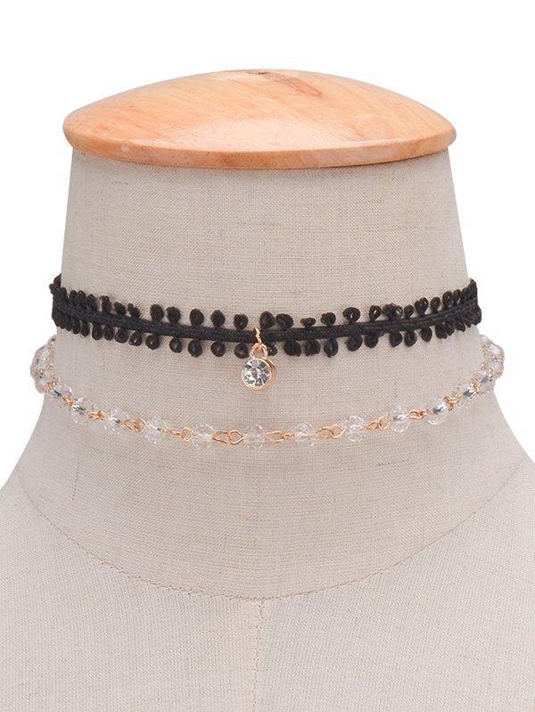 Rhinestone Braid Layered Choker Necklace