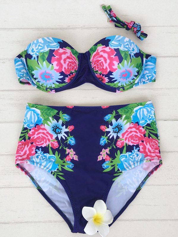 High Waisted Underwire Floral Bikini Set