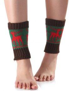 Buy Christmas Deer Knit Boot Cuffs - GREEN