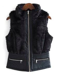 PU Leather Spliced Faux Fur Waistcoat - Black