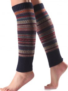 Buy Ethnic Stripe Knit Leg Warmers CADETBLUE