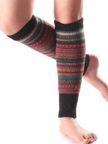 Buy Ethnic Stripe Knit Leg Warmers BLACK