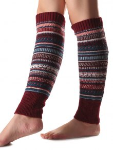Buy Ethnic Stripe Knit Leg Warmers WINE RED