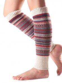 Buy Ethnic Stripe Knit Leg Warmers OFF WHITE