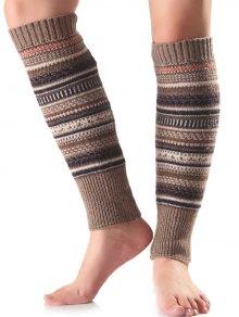 Buy Ethnic Stripe Knit Leg Warmers KHAKI