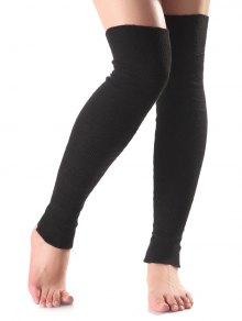Long Knit Leg Warmers - Black