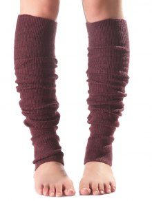 Long Knit Leg Warmers - Wine Red