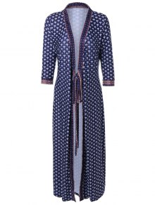 V Neck Printed Kimono Dress