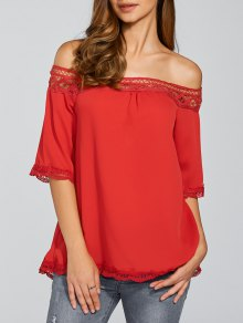 Off The Shoulder Chiffon Blouse - Red L