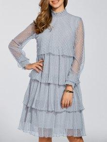 Layered Chiffon Polka Dot Dress - Gray