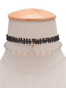 Layered Rhinestone Braid Choker Necklace