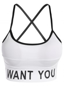 Slim Criss-Cross I Want You Yoga Bra - White