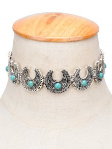 Vintage Faux Turquoise Moon Engraved Choker - Silver