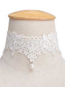 Faux Lace Pearl Floral Choker Necklace