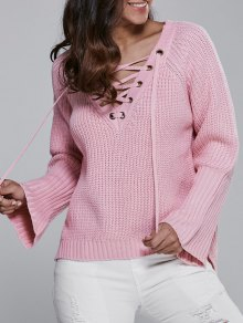 High Low V Neck Lace Up Sweater