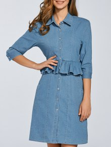 Denim Shirt Dress With Ruffles - Denim Blue L