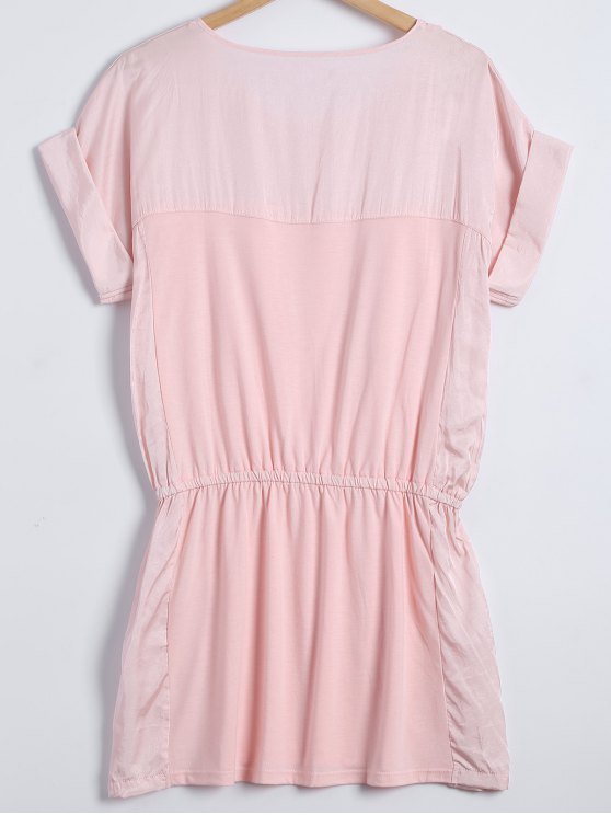 Cap Sleeves Elastic Waist Babydoll - SHALLOW PINK ONE SIZE Mobile