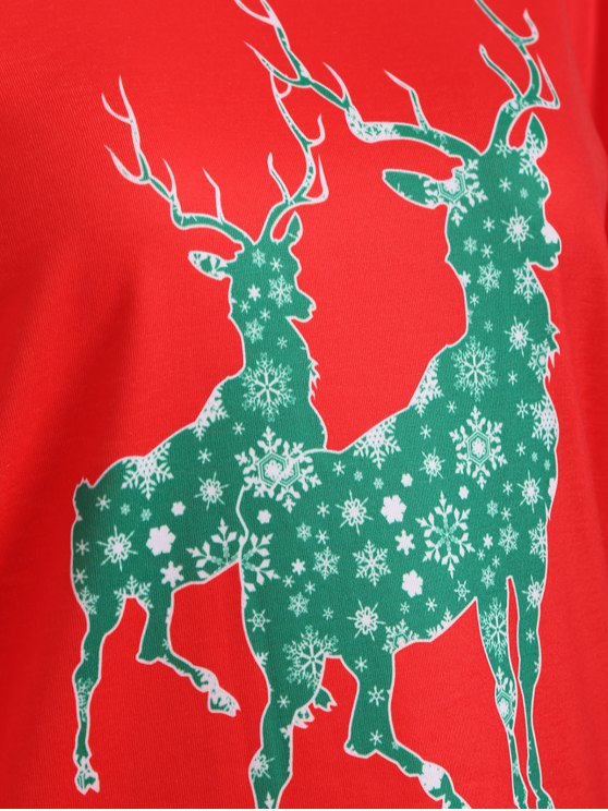 Elk Pattern Christmas T-Shirt - RED L Mobile