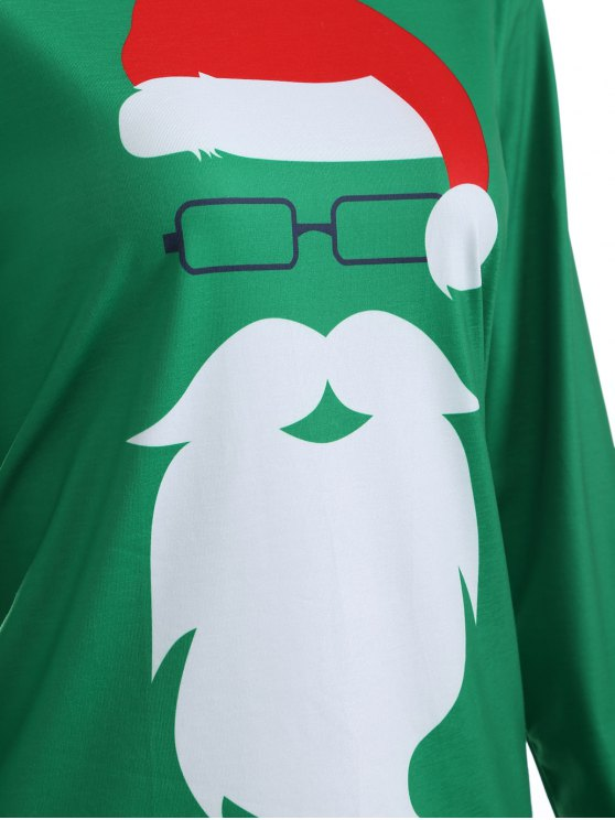 Santa Claus Graphic Christmas T-Shirt - GREEN L Mobile