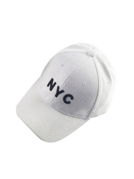 Autumn NYC Embroidery Corduroy Baseball Hat - WHITE  Mobile