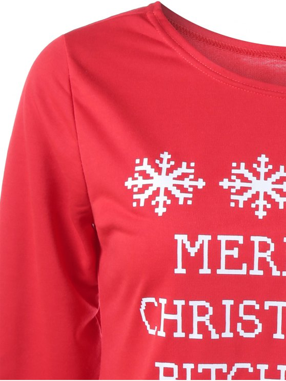 Merry Christmas Snowflake Print Sweatshirt - RED XL Mobile