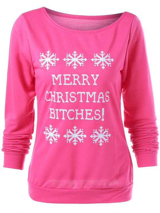 Merry Christmas Snowflake Print Sweatshirt - ROSE RED L Mobile