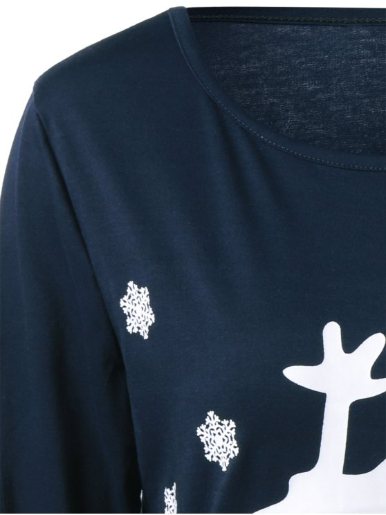 Christmas Deer Print Snowflake Sweatshirt - PURPLISH BLUE S Mobile