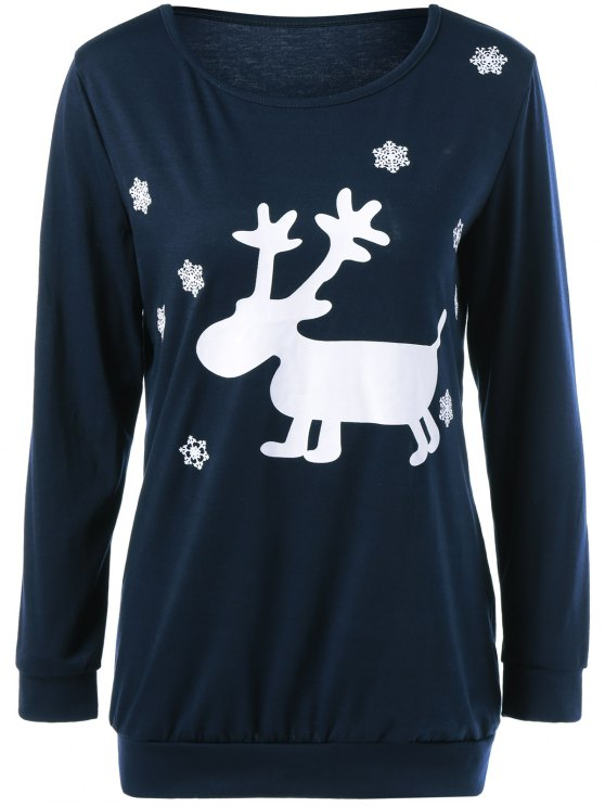 Christmas Deer Print Snowflake Sweatshirt - PURPLISH BLUE M Mobile