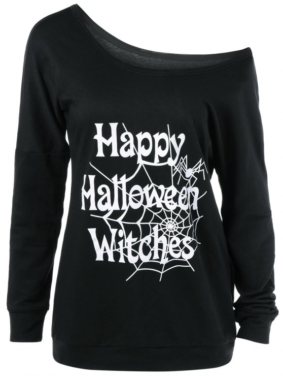 outfit Skew Collar Happy Halloween Witches T-Shirt - BLACK XL