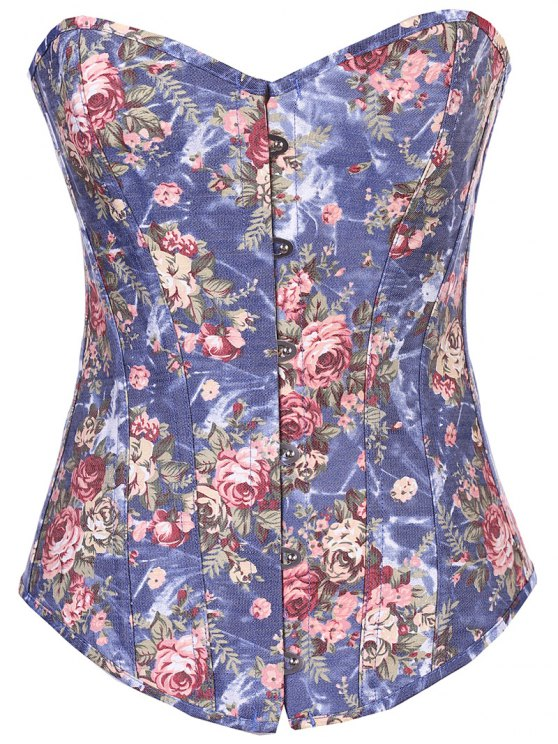 Denim Floral  Back Lace Up Corset - DENIM BLUE M Mobile
