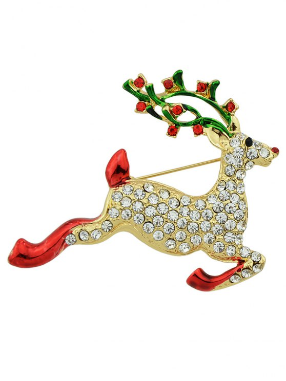 Elk Rhinestone Christmas Brooch -   Mobile