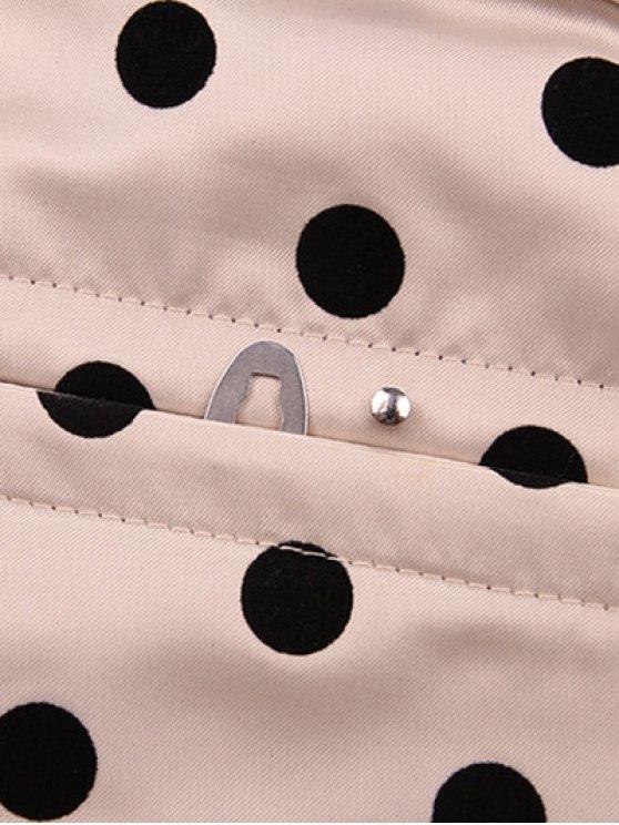 Lace Up Polka Dot  Corset - APRICOT L Mobile
