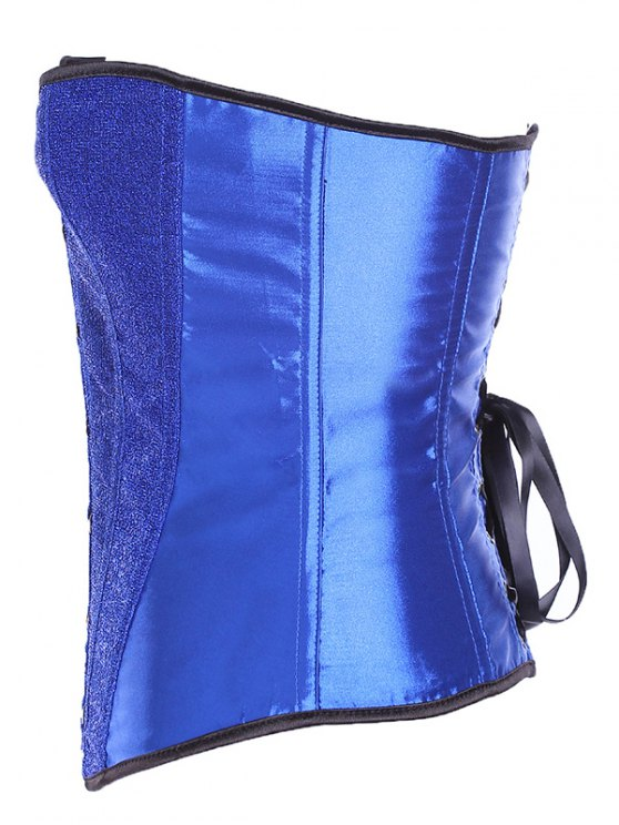 Lace Up Sequins Embellished Corset - SAPPHIRE BLUE S Mobile