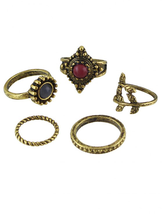 outfit Circle Natural Stone Ring Jewelry Set - BRONZE ONE-SIZE