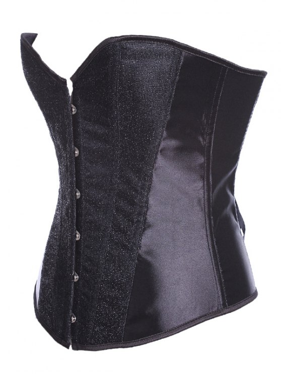 Lace Up Sequins Embellished Corset - BLACK L Mobile